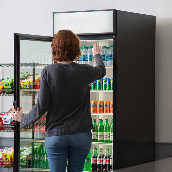 "Beverage-Air LV23HC-1-B-18 LumaVue 27"" Black Refrigerated Left Hinged Glass Door Merchandiser with LED Lighting"