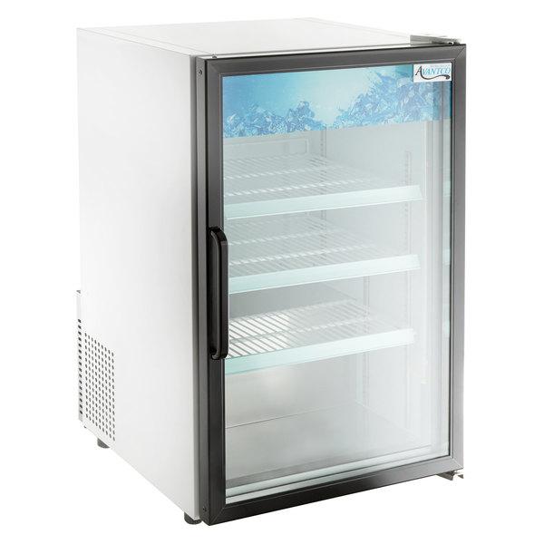 Avantco CRM-7-HC White Countertop Display Refrigerator with Swing Door - 4.1 Cu. Ft.