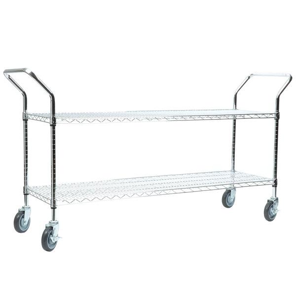 """Regency 18"""" x 60"""" Two Shelf Chrome Heavy Duty Utility Cart"""