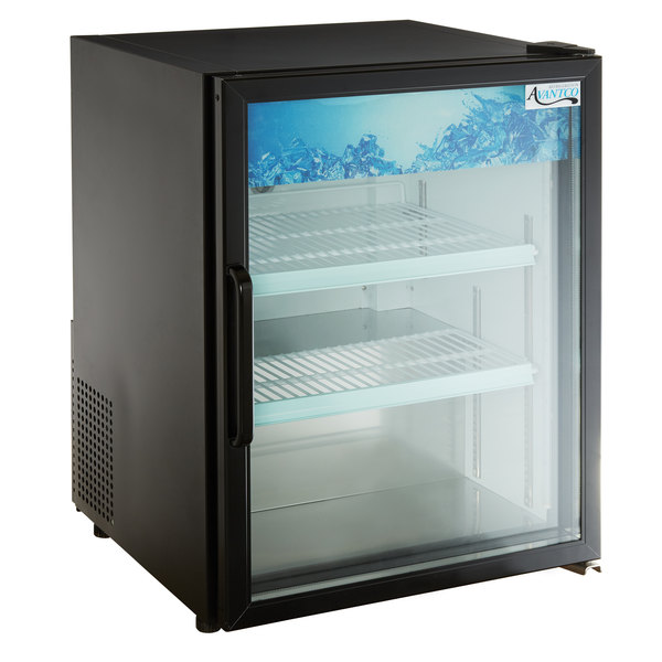 Avantco CRM-5-HC Black Countertop Display Refrigerator with Swing Door - 3.9 Cu. Ft.