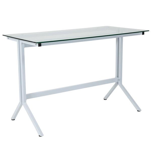 "Flash Furniture NAN-JN21719-D-W-GG Winfield Glass with White Frame Desk - 43 1/4"" x 21 1/2"" x 28"" Main Image 1"