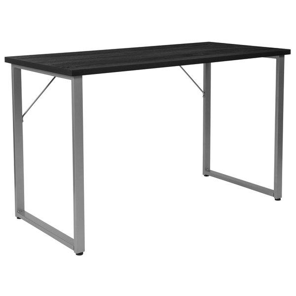 "Flash Furniture NAN-JN-21721-GG Harvey Black with Silver Frame Desk - 47 1/4"" x 23 1/2"" x 29 1/4"""
