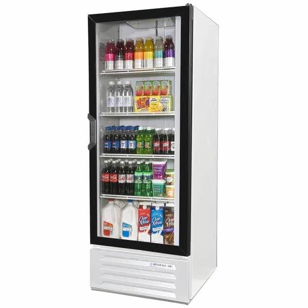 "Beverage-Air LV12HC-1-W-18 Lumavue 24"" White Refrigerated Glass Door Merchandiser with LED Lighting - Left Hinged Door"