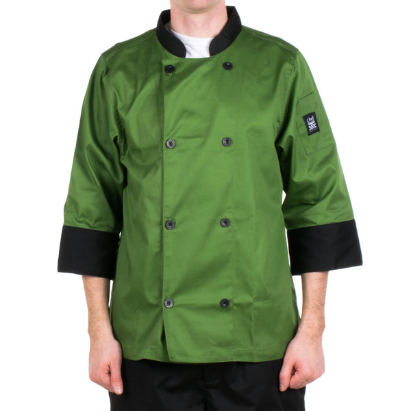 Chef Revival Bronze J134MT-L Cool Crew Fresh Size 46 (L) Mint Green Customizable Chef Jacket with 3/4 Sleeves - Poly-Cotton