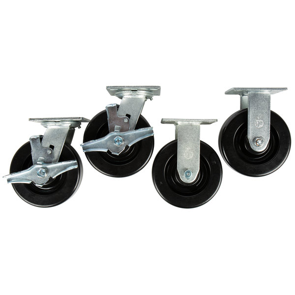 """6"""" Swivel / Rigid Plate Casters for Vulcan VC55 and VC44 Double Deck Convection Ovens - 4/Set Main Image 1"""