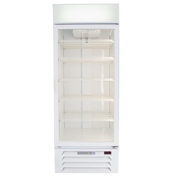 "Beverage-Air LV27HC-1-W-18 LumaVue 30"" White Refrigerated Glass Door Merchandiser with LED Lighting - Left Hinged Door Main Image 1"