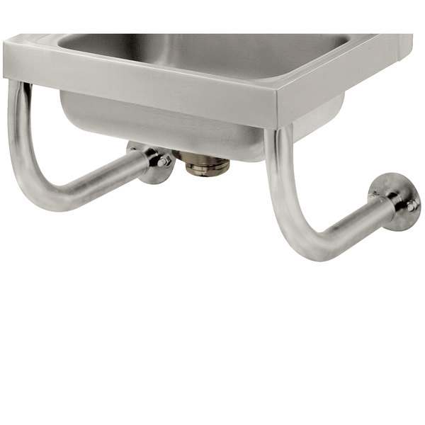 "Advance Tabco 7-PS-24B Tubular Wall Supports for 10"" x 14"" Hand Sinks with Deck Mounted Faucet"