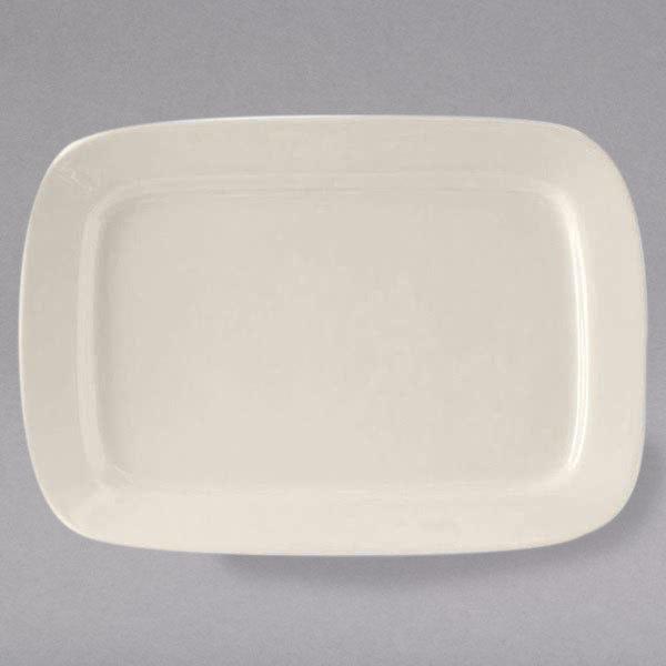 "Tuxton BEH-170A DuraTux 17"" x 11 3/4"" Ivory (American White) Rectangular China Platter - 4/Case"
