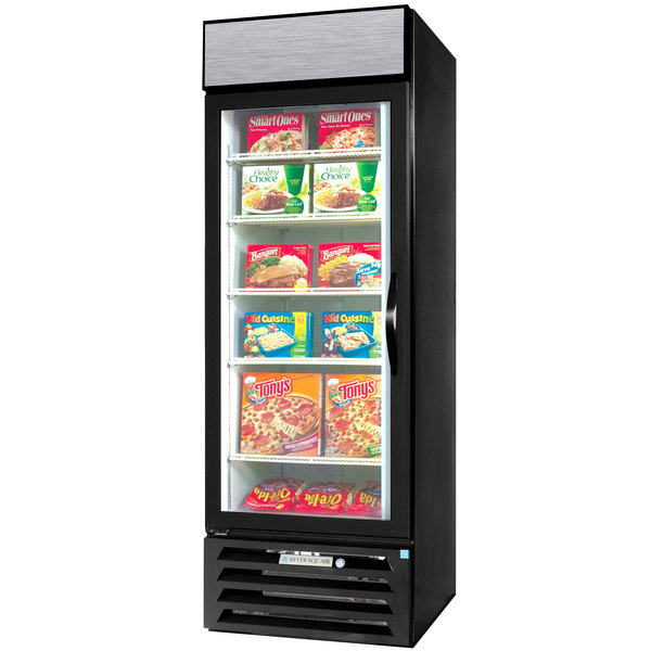 "Beverage-Air MMF27-1-B-LED-002 Marketmax Black 30"" Glass Door Merchandising Freezer with LED Lighting - Left Hinged Door Main Image 1"