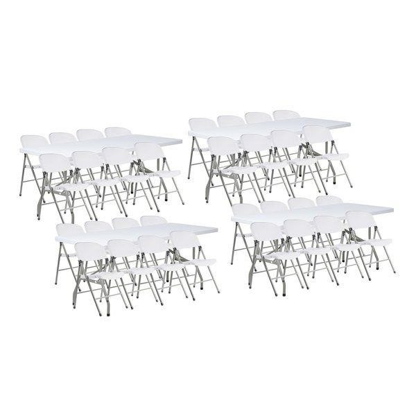 Lancaster Table Seating 4 30 X 72 Granite White Heavy Duty Blow Molded Plastic Folding Tables With 32 White Folding Chairs