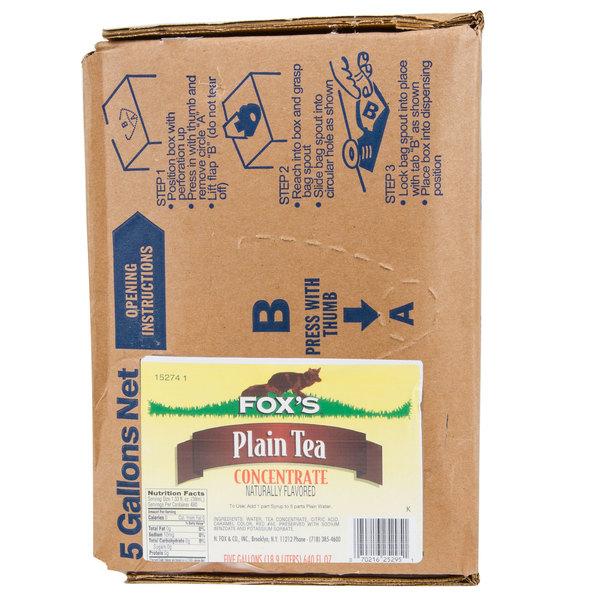Fox's 5 Gallon Bag In Box Unsweetened Tea Syrup