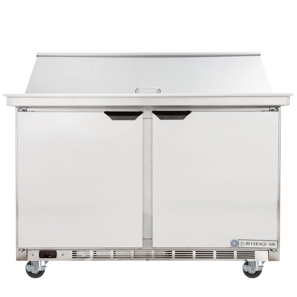 "Beverage-Air SPE48HC-18M-23 48"" 2 Door Mega Top ADA Height Refrigerated Sandwich Prep Table"