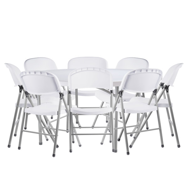 Lancaster Table Seating 60 Round Granite White Heavy Duty Blow Molded Plastic Folding Table With 8 White Folding Chairs