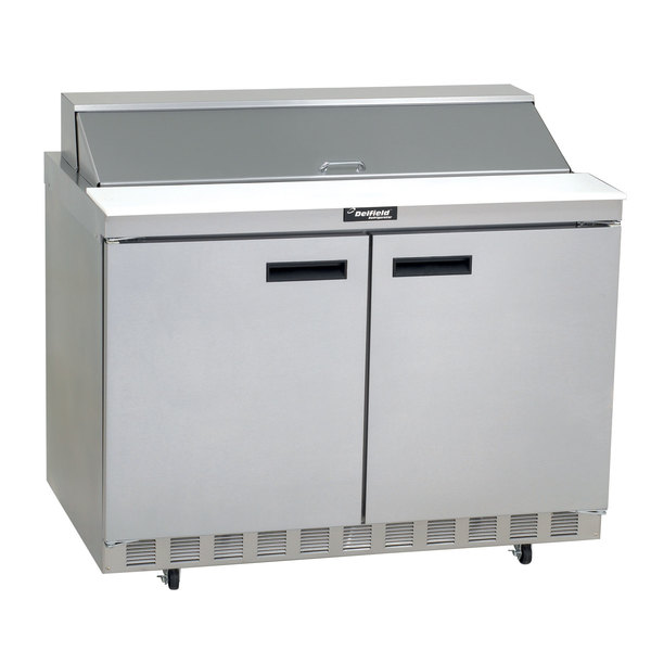 """Delfield 4448N-18M 48"""" 2 Door Mega Top Front Breathing Refrigerated Sandwich Prep Table with 3"""" Casters"""