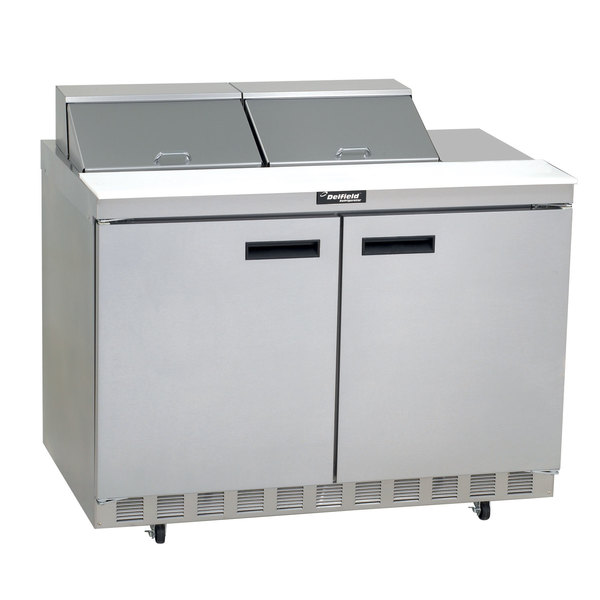 """Delfield 4464N-12 64"""" 2 Door Front Breathing Refrigerated Sandwich Prep Table with 3"""" Casters Main Image 1"""