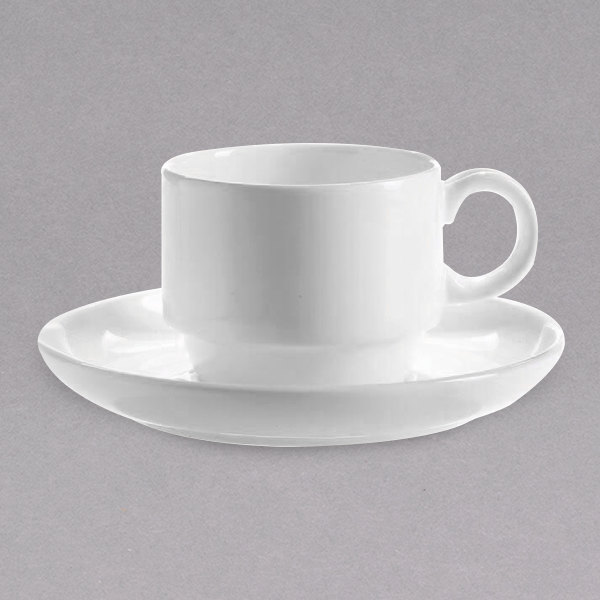 Chef & Sommelier FN038 Infinity 8.5 oz. White Bone China Coffee Cup by Arc Cardinal - 24/Case Main Image 1