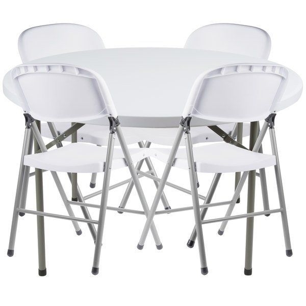 Peachy Lancaster Table Seating 48 Round Granite White Heavy Duty Blow Molded Plastic Folding Table With 4 White Folding Chairs Bralicious Painted Fabric Chair Ideas Braliciousco