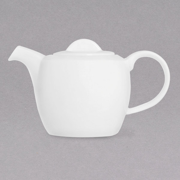Chef & Sommelier FN019 Infinity 13.5 oz. White Bone China Teapot with Lid by Arc Cardinal - 12/Case Main Image 1