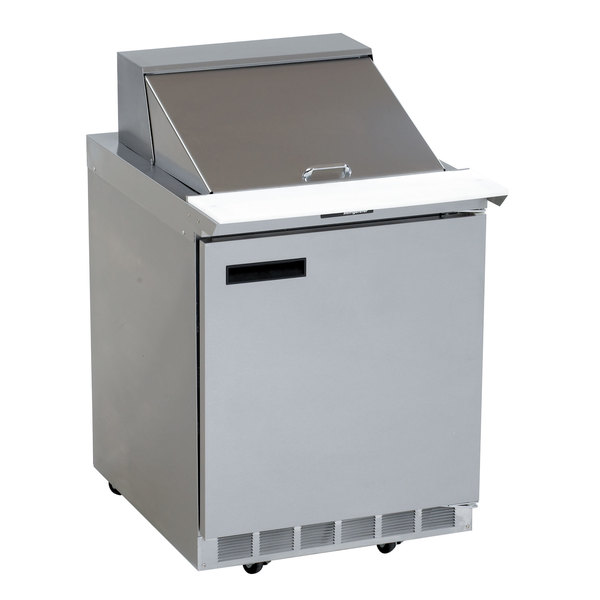 "Delfield 4427N-12M 27"" 1 Door Mega Top Front Breathing Refrigerated Sandwich Prep Table with 3"" Casters Main Image 1"