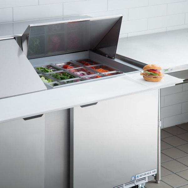 "Beverage-Air SPE60HC-24M-23 60"" 2 Door Mega Top ADA Height Refrigerated Sandwich Prep Table"