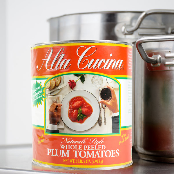 """Stanislaus #10 Can Alta Cucina """"Naturale"""" Style Plum Tomatoes - 6/Case"""
