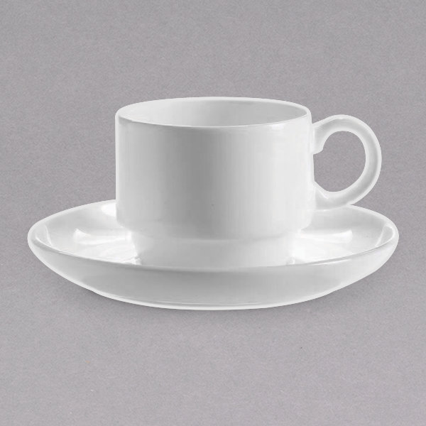 """Chef & Sommelier FN031 Infinity 4 1/2"""" White Bone China Saucer by Arc Cardinal - 24/Case Main Image 1"""