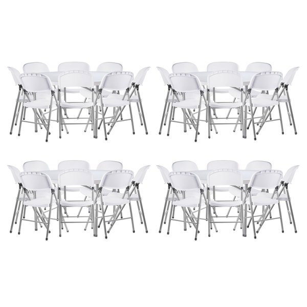 Outstanding Lancaster Table Seating 4 60 Round Granite White Heavy Duty Blow Molded Plastic Folding Tables With 32 White Folding Chairs Interior Design Ideas Apansoteloinfo