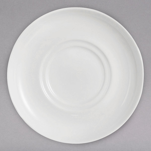 """Chef & Sommelier FN033 Infinity 6"""" White Bone China Double Well Saucer by Arc Cardinal - 24/Case Main Image 1"""