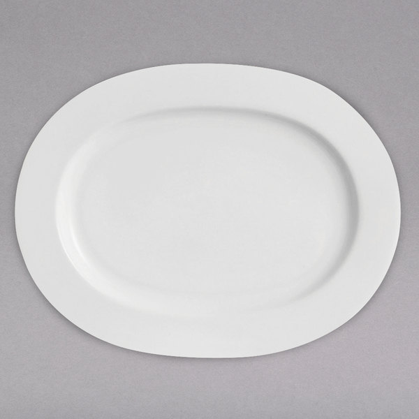 """Chef & Sommelier FN063 Infinity 8 1/2"""" x 11 1/4"""" White Bone China Oval Platter by Arc Cardinal - 12/Case Main Image 1"""