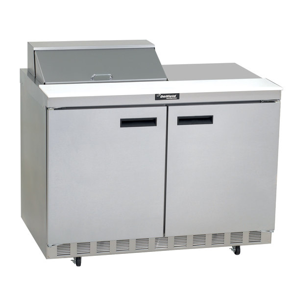 "Delfield 4460N-12M 60"" 2 Door Mega Top Front Breathing Refrigerated Sandwich Prep Table with 3"" Casters Main Image 1"