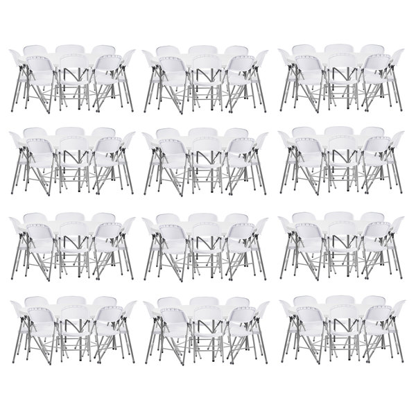 """Lancaster Table & Seating (12) 72"""" Round Granite White Heavy Duty Blow Molded Plastic Folding Tables with 96 White Folding Chairs"""