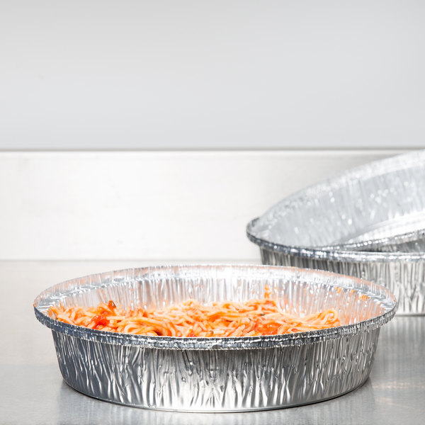 """Durable Packaging 260-35-250 10"""" Round Foil Pan - 250/Case"""