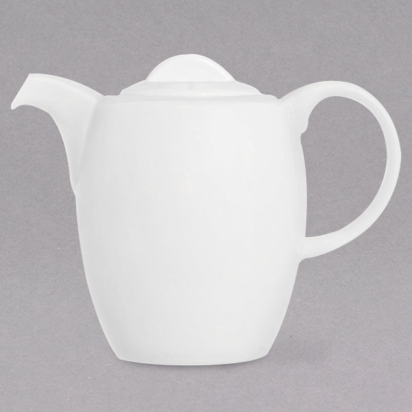 Chef & Sommelier FN022 Infinity 20.25 oz. White Bone China Coffee Pot with Lid by Arc Cardinal - 12/Case Main Image 1