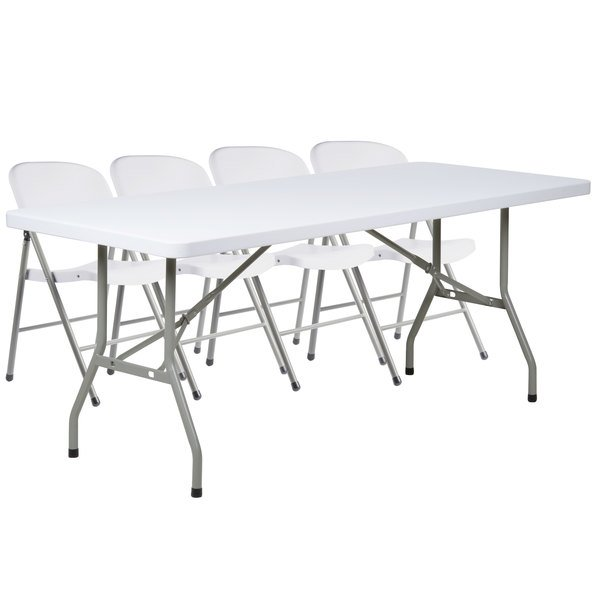 Lancaster Table Seating 30 X 72 Granite White Heavy Duty Blow Molded Plastic Folding Table With 4 White Folding Chairs