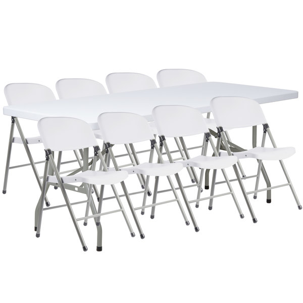 Strange Lancaster Table Seating 30 X 72 Granite White Heavy Duty Blow Molded Plastic Folding Table With 8 White Folding Chairs Interior Design Ideas Apansoteloinfo