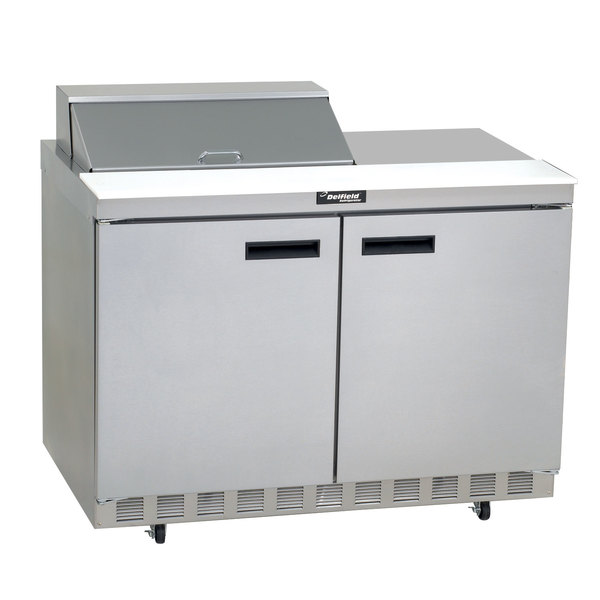 """Delfield 4448N-8 48"""" 2 Door Front Breathing Refrigerated Sandwich Prep Table with 3"""" Casters"""
