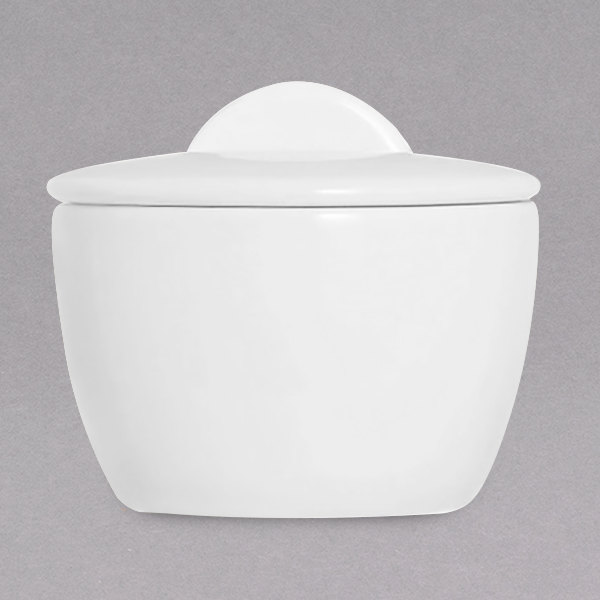 Chef & Sommelier FN016 Infinity 7.5 oz. White Bone China Sugar Bowl with Lid by Arc Cardinal - 12/Case Main Image 1