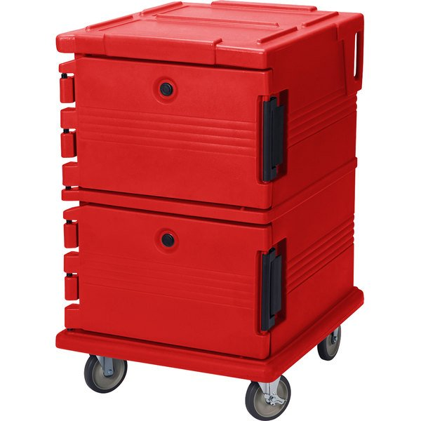 Cambro UPC1200158 Ultra Camcarts® Hot Red Insulated Food Pan Carrier - Holds 16 Pans Main Image 1