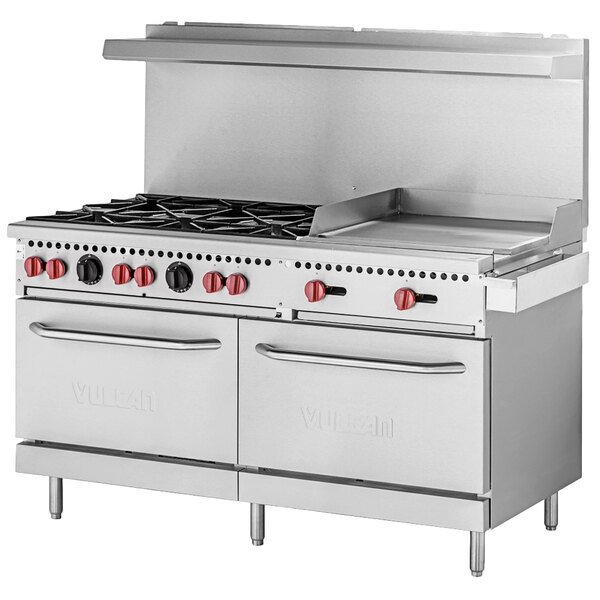 Vulcan SX60F-6B24GN SX Series Natural Gas 6 Burner 60 inch Range with 24 inch Manual Griddle with 2 Standard Ovens - 258,000 BTU