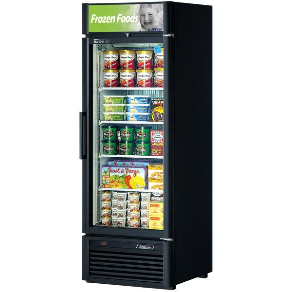 """Turbo Air TGF-23SD Black 27"""" Super Deluxe Single Door Merchandiser Freezer - 21.1 Cu. Ft."""