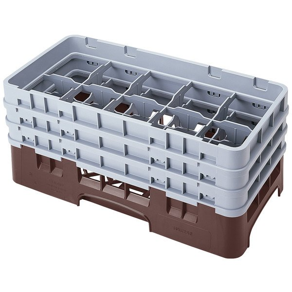 "Cambro 10HS638167 Brown Camrack Customizable 10 Compartment 6 7/8"" Half Size Glass Rack"