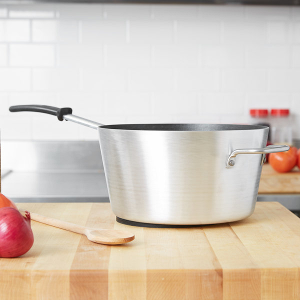 Vollrath 69307 Wear-Ever 7 Qt. Tapered Sauce Pan with SteelCoat x3 Non-Stick Interior and TriVent Silicone Handle Main Image 2