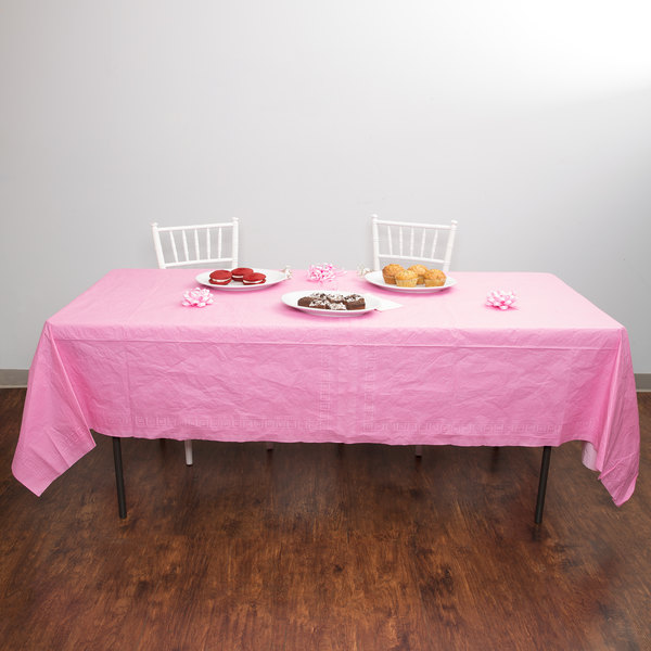 """Creative Converting 711344 54"""" x 108"""" Candy Pink Tissue / Poly Table Cover - 6/Case Main Image 5"""