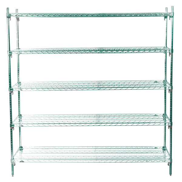 "Metro 5A577K3 Stationary Super Erecta Adjustable 2 Series Metroseal 3 Wire Shelving Unit - 24"" x 72"" x 74"""
