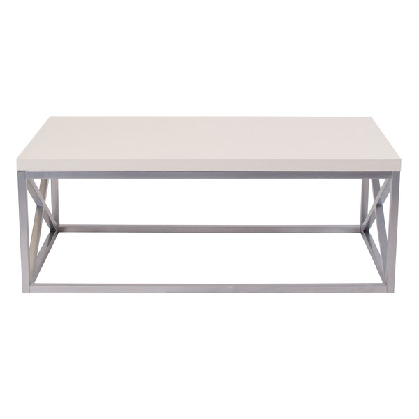 "Flash Furniture NAN-CT1796-GG Park Ridge 47 1/4"" x 23 1/4"" x 17 3/4"" Cream Coffee Table with Silver Metal Frame Main Image 1"