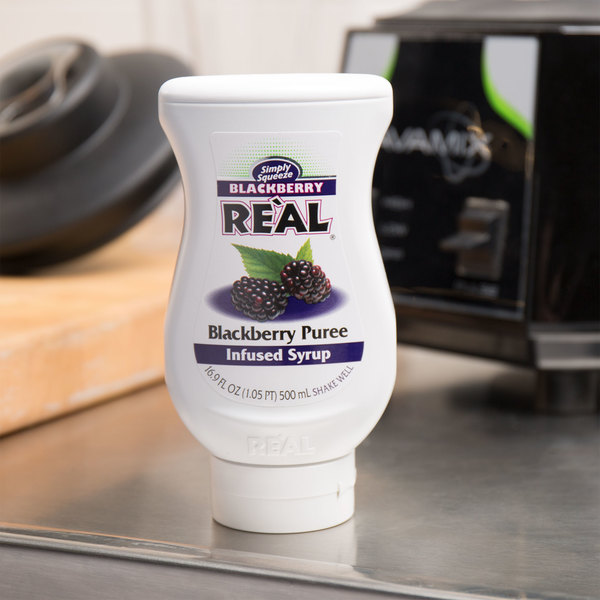 Real 16.9 fl. oz. Blackberry Puree Infused Syrup Main Image 4