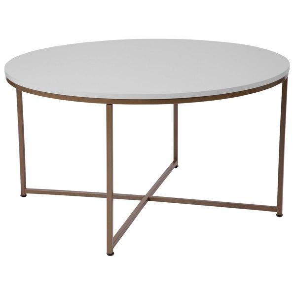 Flash Furniture NANJH1787CTGG Hampstead 35 12 x 19 14 Round White