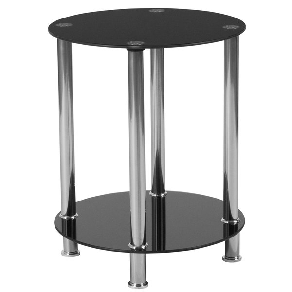 """Flash Furniture HG-112348-GG Riverside 15 3/4"""" x 19 1/2"""" Black Glass End Table with Shelves and Stainless Steel Frame Main Image 1"""
