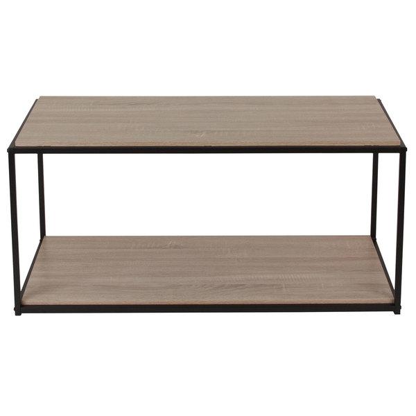 "Flash Furniture NAN-JN-21744CT-GG Midtown 39 1/2"" x 19 1/2"" x 18 1/2"" Rectangular Sonoma Oak Wood Grain Finish Coffee Table with Black Metal Frame Main Image 1"