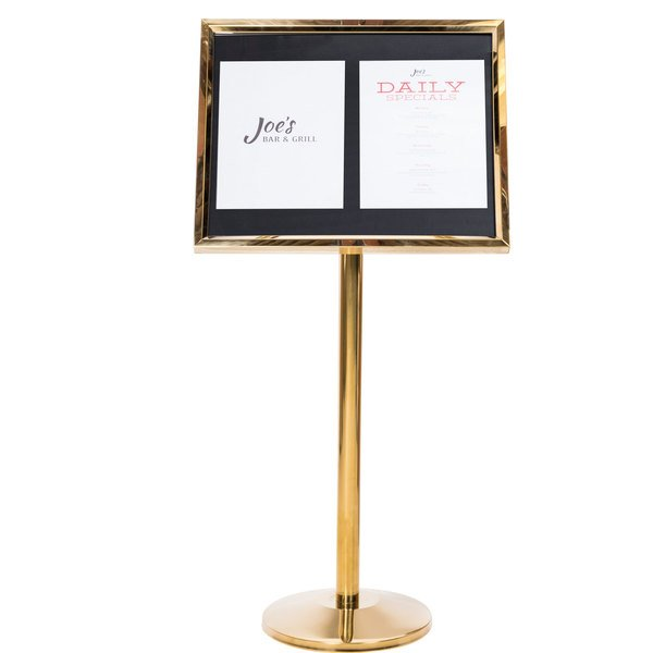 Aarco P 5B Brass Single Pedestal Sign Board